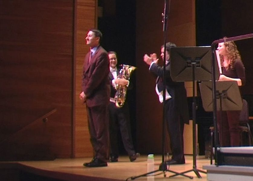 Tim Jansa, Adam Frey & Robert Ambrose on stage after the premiere of Tim's Euphonium Concerto