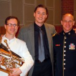 Adam Frey, euphonium, Tim Jansa, and conductor MAJ Tod Addison aftter the premiere of Jansa's Euphonium Concerto during the 2012 U.S. Army Band Tuba/Euphonium Workshop (January 2012)